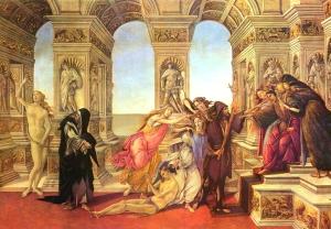 """Em """"A Calúnia de Apeles"""" Botticelli contrasta a Verdade e a Mentira (à esq.)"""