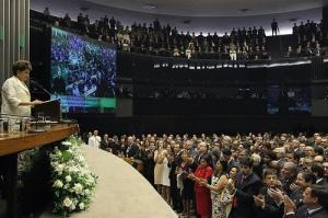 Dilma Rousseff discursa no plenário da Câmara dos Deputados logo após ser empossada como presidente da República. Foto: Roberto Stuckert Filho/PR
