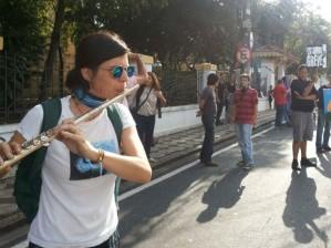 Professores de Sorocaba interditam rua do Centro da cidade. Foto: G1.