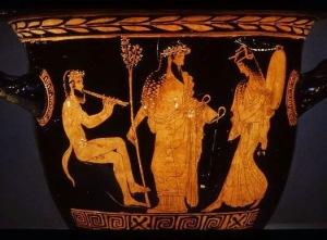 Vaso grego em cuja figura central está representado o deus Dioniso.