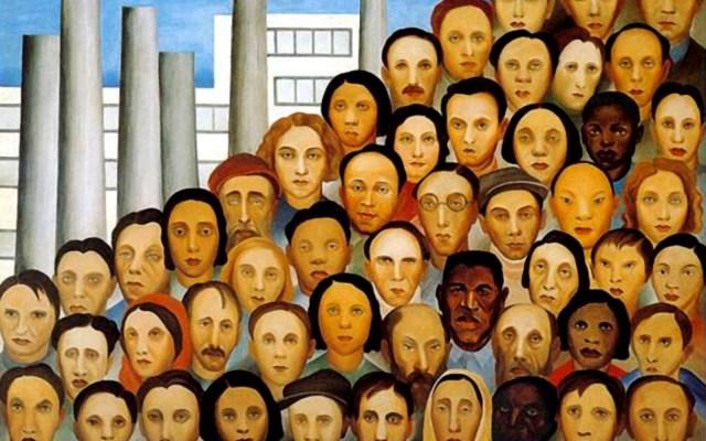 Quadro Operários (1933), de Tarsila do Amaral, representação da sociologia brasileira feita sobre o suor dos operários.